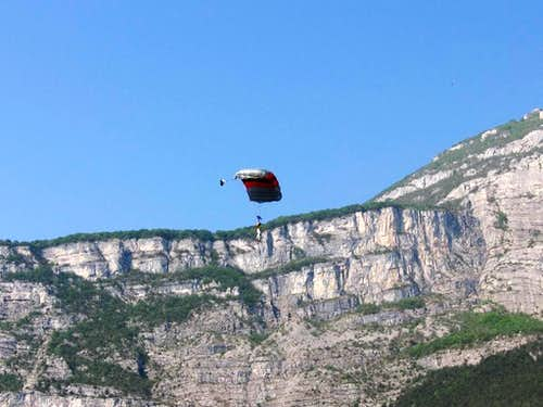 Landing base jumper in the front of Monte Brento