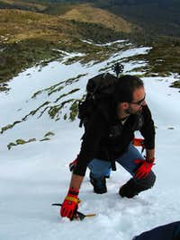 Climbing a 45º slope in snow