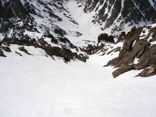Look down the upper couloir