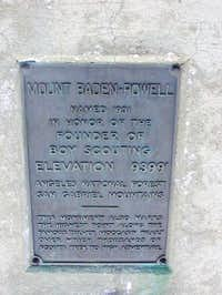 Plaque for Baden-Powell