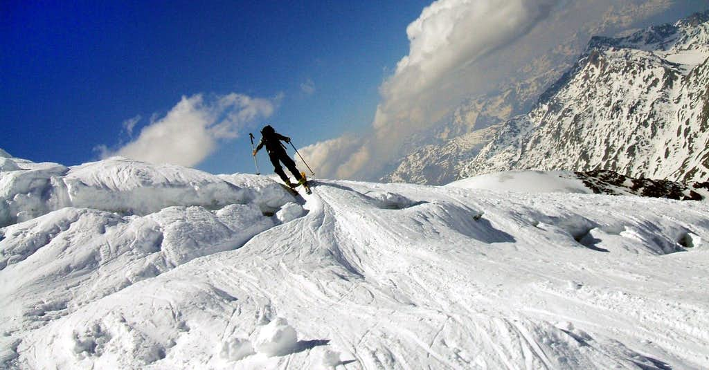 Skier on terrminal crevice
