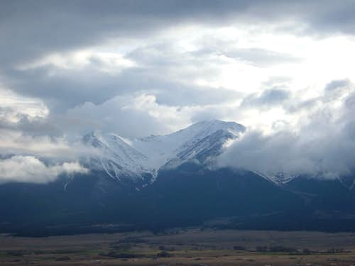 Mount Princeton shows itself through the clouds
