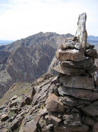 Bird-poop-covered Summit Cairn