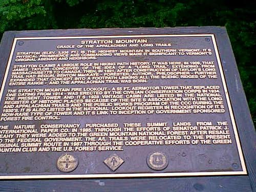 The plaque on Stratton summit