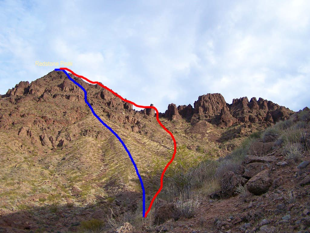 Routes up Redstone Peak