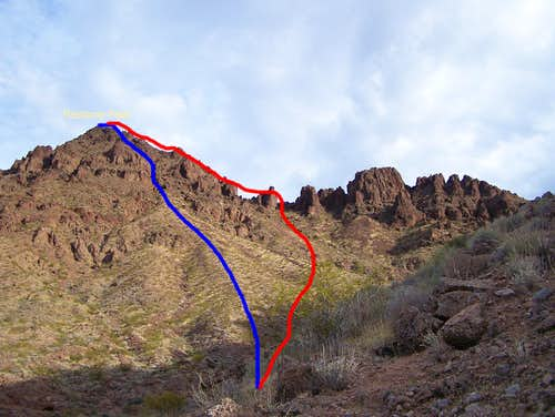 Routes up Redstone Peak