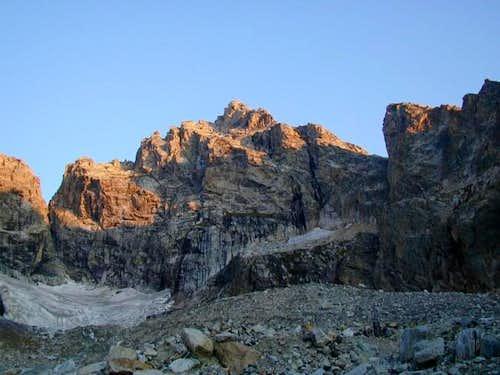 Morning alpenglow on Mt. Owen...