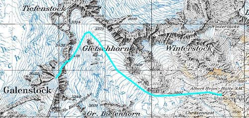 Route to Galenstock from the Albert Heim Hut