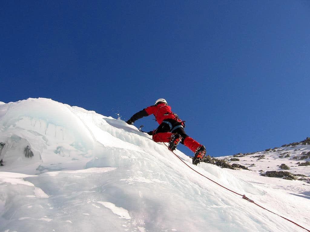 Ice climbing on Vychodná Vysoká