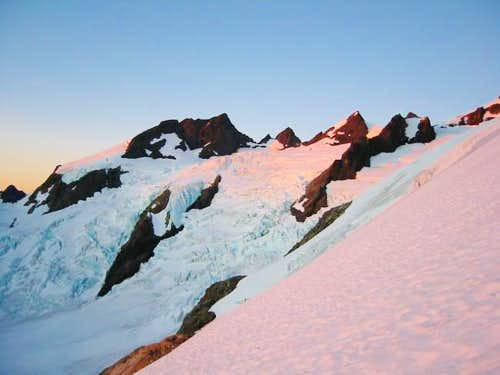 Alpenglow, Blue Icefall while...