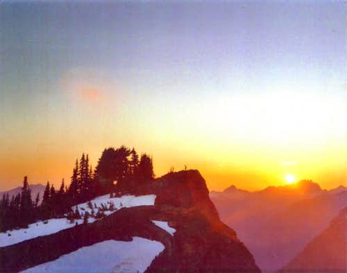 Mount Dickerman's Summit at Sunset