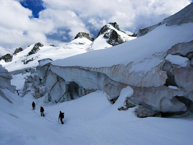 Crossing the Glacier Du Géant