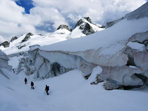 Crossing the Glacier Du Géant