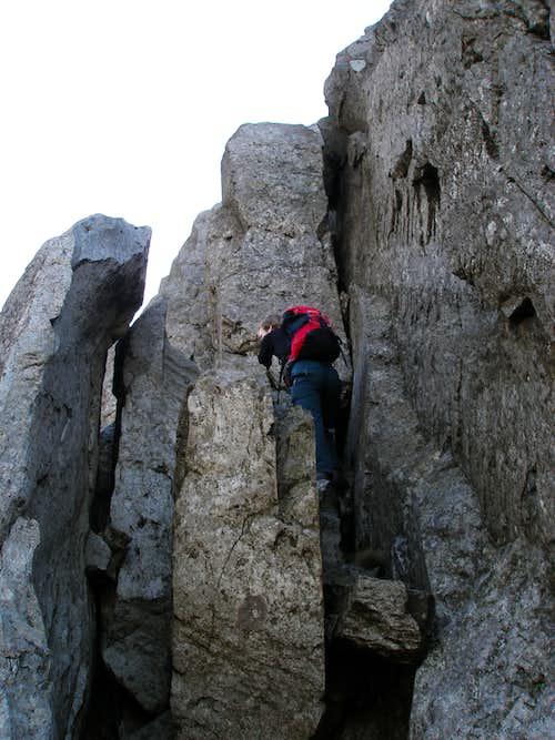 Climbing up Tryfan's North Ridge
