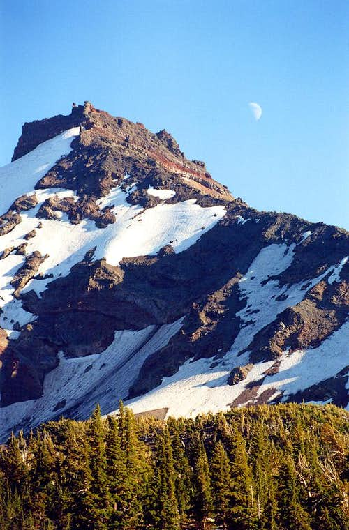 Broken Top and the Moon:Telephoto from Above  Golden Lake