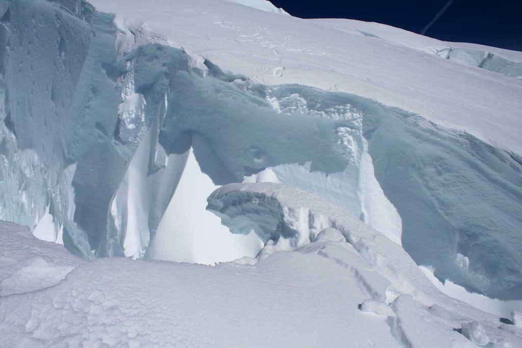 Jumping crevasses on Ingraham Glacier