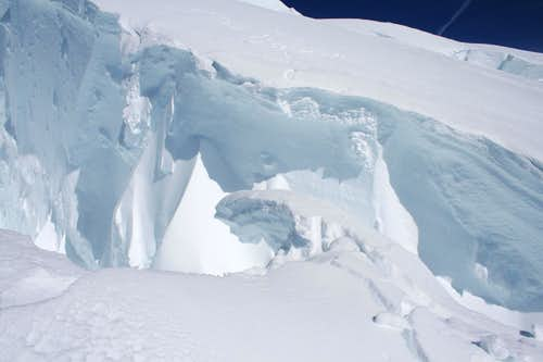 Jumping crevasses on Ingraham Glacier