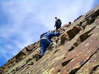 Downclimbing the crack on the Twins SE ridge