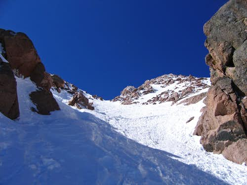 Nearing summit on Y Couloir