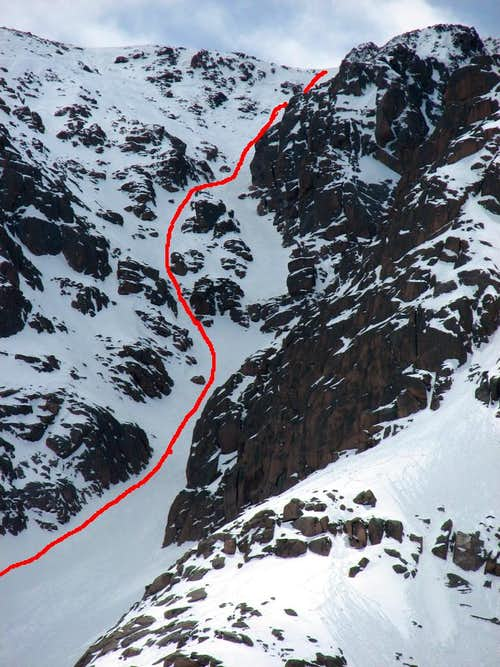 Y Couloir left branch route