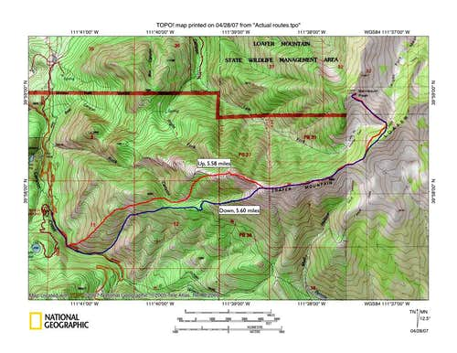 Route from Maple Lake to Santaquin Peak