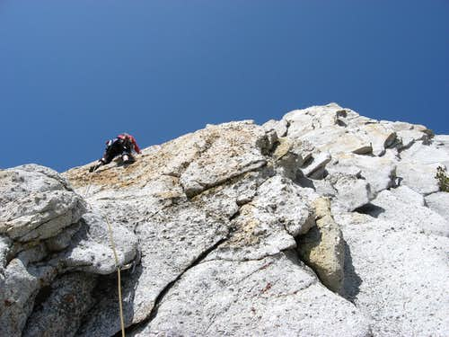 Leading on the SE Buttress of Cathedral