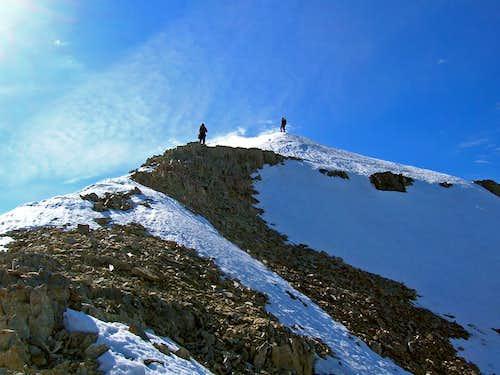 Traversing the summit ridge