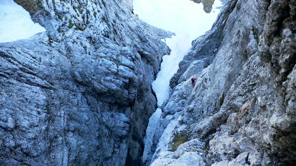 Looking down the first gully