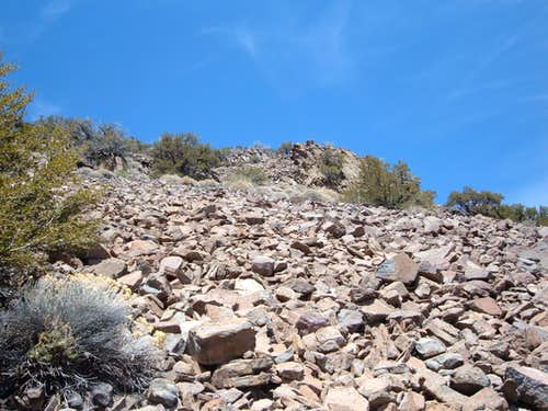 View up the boulder field
