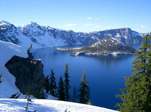 Wizard Island Rising from the Waters of Crater Lake