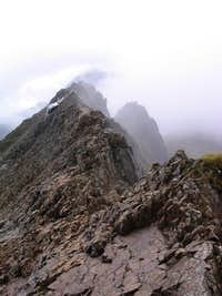 Clouds obscuring Crib Goch and Snowdon