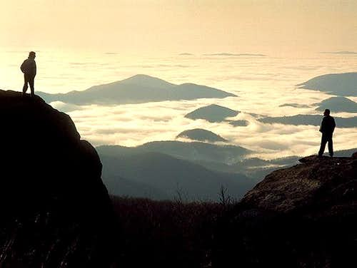 Climbers at daybreak view...