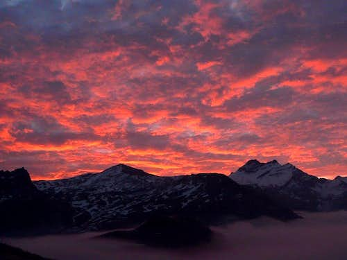 Gran Paradiso Group at sunrise