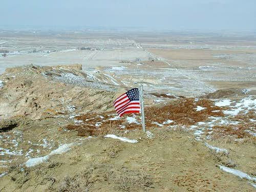 US Flag on White Butte\'s summit