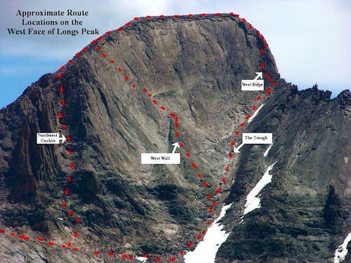 Longs Peak, West Face Routes