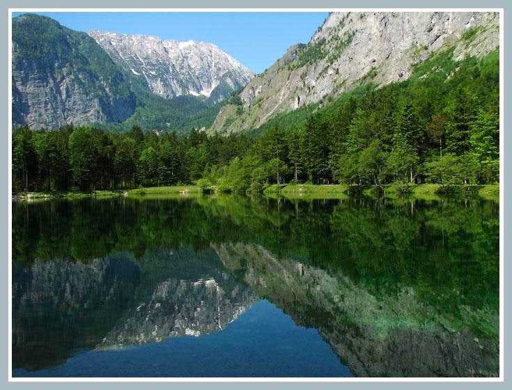 Schneibstein Reflection in Bluntau Lake