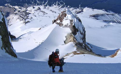 Descending old chute route on Hood