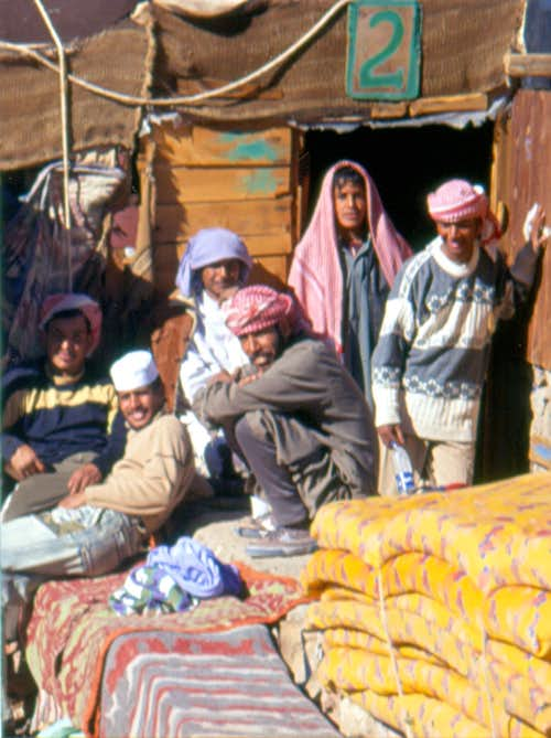 Bedouins in front of a guest hut