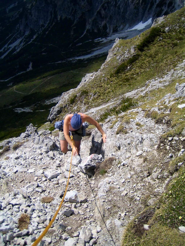 Steep rocks before the summit