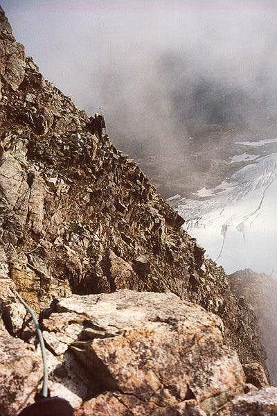 Loose terrain on Mesahchie Peak