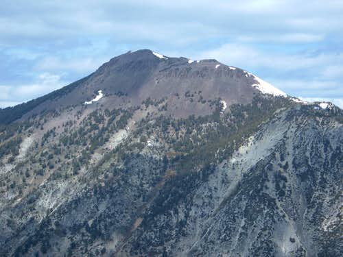 Zoom shot of the top of Mount Rose
