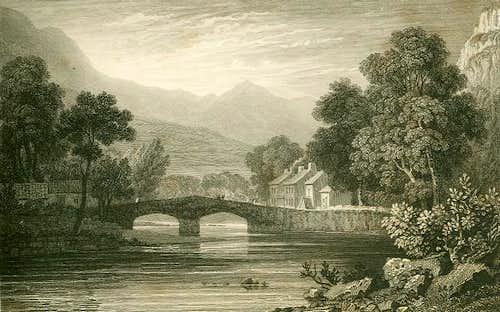 Engraving of Beddgelert circa 1830