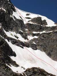 Solo Ski, N.F. true east face of Notchtop, RMNP