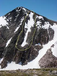 north face hallets, ski decent circled, rmnp