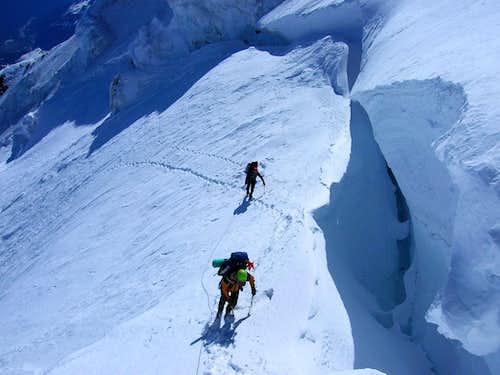 Dave German and Brad Mastros just below the 'shrund on Liberty Ridge
