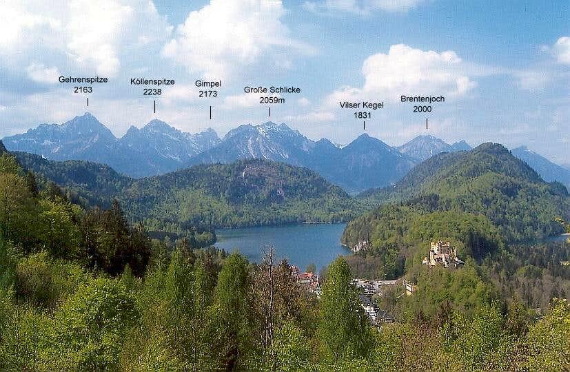 Tannheim Mountains from NE