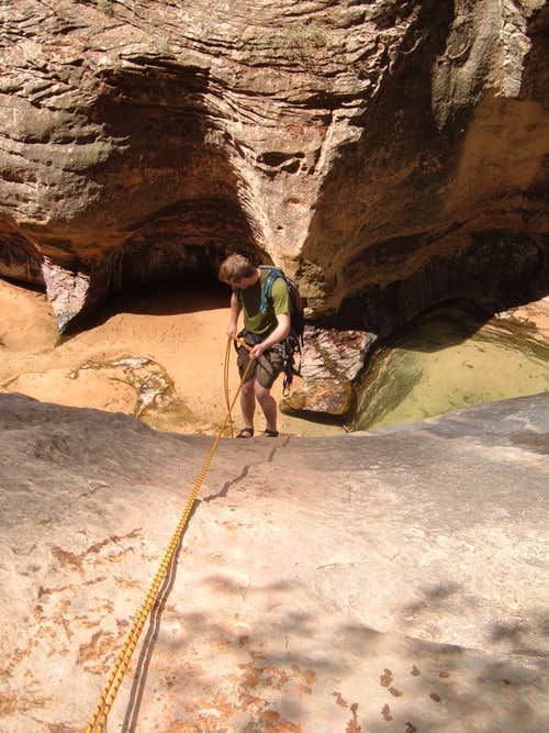 Final abseil on the Subway Route, Zion Nat\'l Park