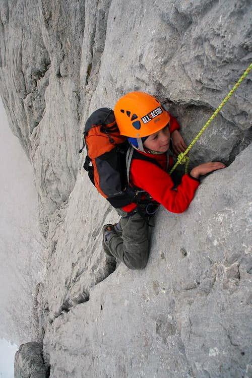 Jon Cruces climbing 'Naranjo de Bulnes'