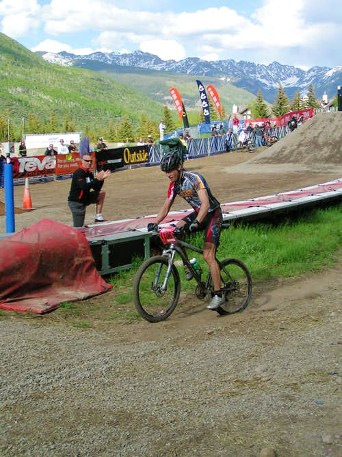Teva Mountian Games 2007 Mountain Bike Race Winner Jay Henry finishes with a flat tire.