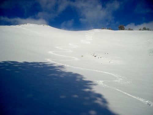 Lone June ski track